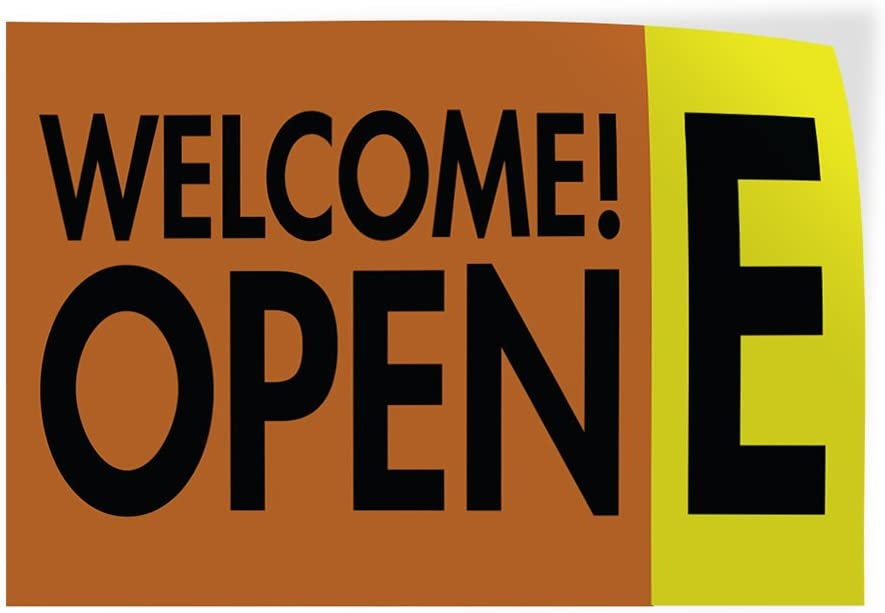 27inx18in Decal Sticker Multiple Sizes Welcome Open E Business Welcome Outdoor Store Sign Brown Set of 5