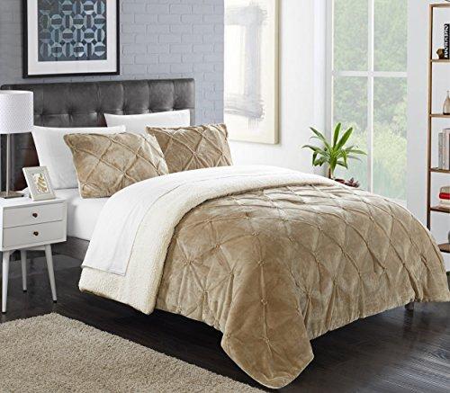 Chic Home Josepha 3 Piece Comforter Set, Queen, Beige (Bedding Champagne)