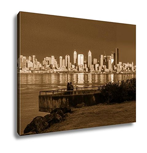 Ashley Canvas As The Sun Sets The Buildings Of The Seattle Skyline Are Reflected In Elliott, Kitchen Bedroom Living Room Art, Sepia 24x30, AG6240988 (Sunset Seattle Skyline Reflections)