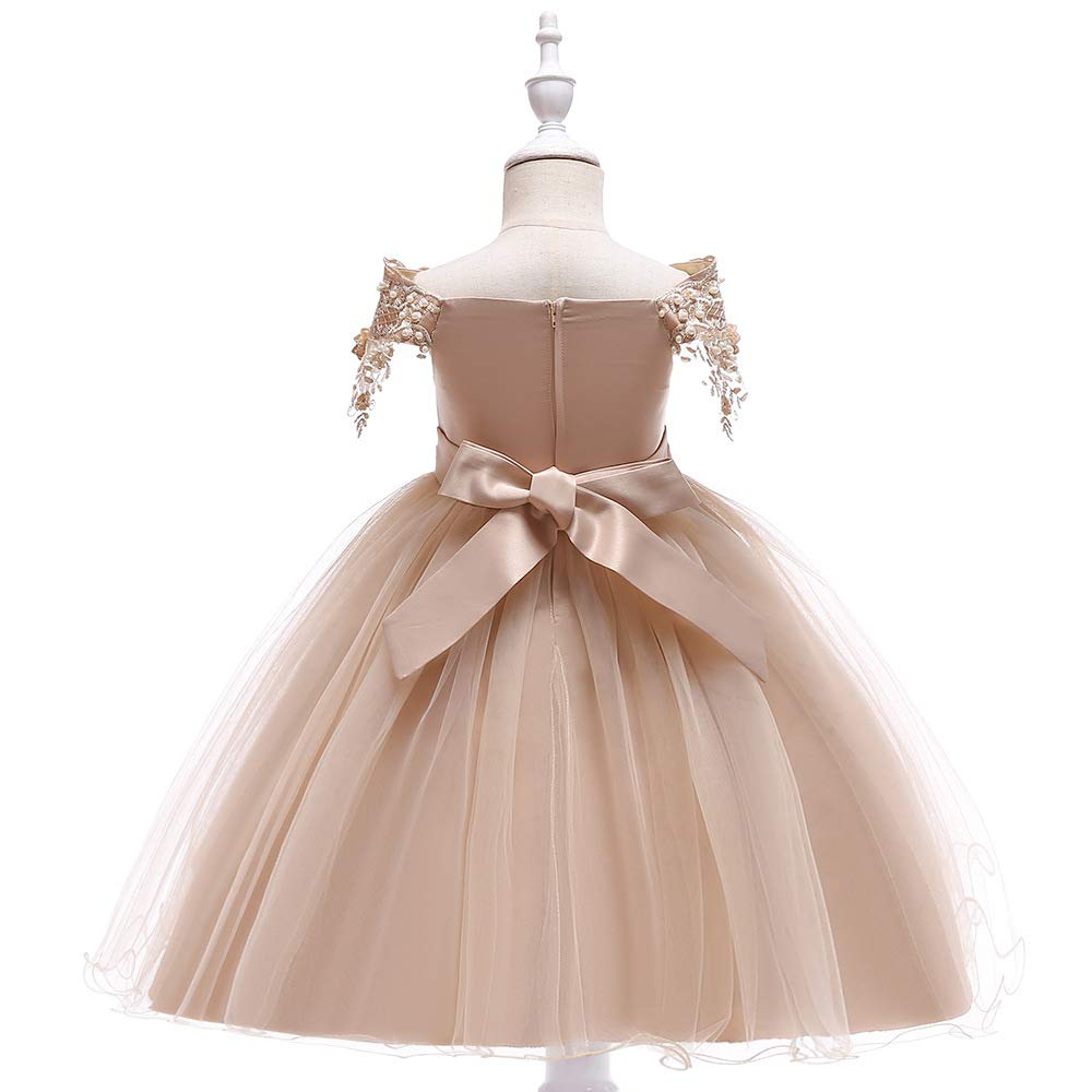 Michealboy Tulle Flower Princess Wedding Dress for Toddler and Baby Girl