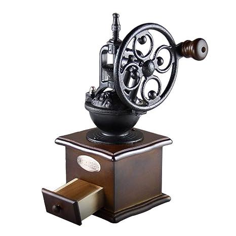 Molinillo de café manual vintage, molinillo de viento, manivela manual, molinillo de madera