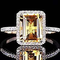 Fashion Women Jewelry 925 Silver Citrine Wedding Jewelry Ring Gift Size 6-10#by pimchanok shop (7, yellow)