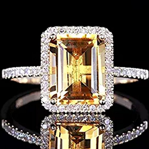 Fashion Women Jewelry 925 Silver Citrine Wedding Jewelry Ring Gift Size 6-10#by pimchanok shop (10, yellow)