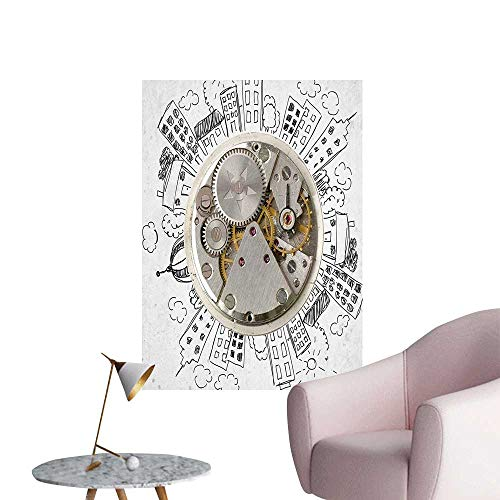 Vinyl Artwork Alarm Clock Clouds and Around It Pattern Ative Light Grey Easy to Peel Easy to Stick,28