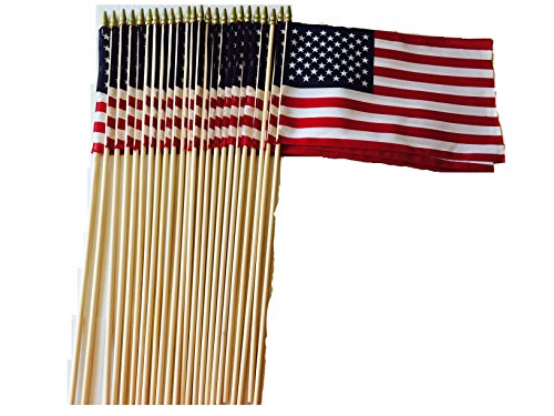 (Lot of -24-12x18 Inch US American Hand Held Classroom School Gravemarker Stick Flags Sewn Edges with Spear Tip WindStrong® Made in USA)
