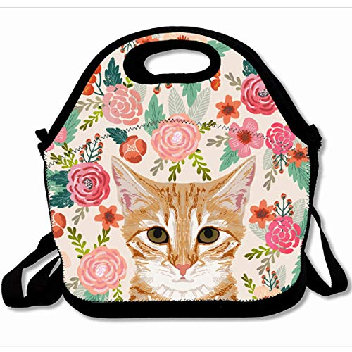 Ahawoso Reusable Insulated Lunch Tote Bag Orange Portrait Tabby Cat Spring Florals Cute Lady Person 10X11 Zippered Neoprene School Picnic Gourmet Lunchbox