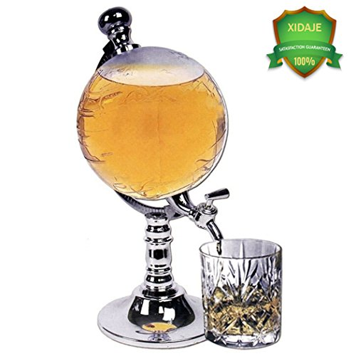 Whiskey Decanter for Spirits or Wine - XIDAJE 1000 ml Decorative Etched Plastic Globe Design - Silver Tone ABS Stand - Handcrafted Quality