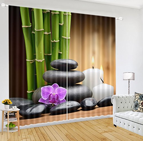 LB 2 Panels Room Darkening Thermal Insulated Blackout Curtains,Bamboo Stone Scenery Window Treatment 3D Effect Print Living Room Bedroom Window Drapes 60 Inch Width by 65 Inch Length - 60 Bamboo Square