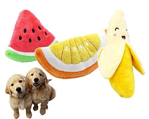 Mkono Cute Fruit Plush Training Chew Squeaky Toys Sound Toys
