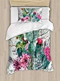 Ambesonne Cactus Duvet Cover Set Twin Size, Spring Garden with Boho Style Bouquet of Thorny Plants Blossoms Arrows Feathers, Decorative 2 Piece Bedding Set with 1 Pillow Sham, Multicolor