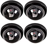 4Pcs Fake Camera BYBYCD Fake Dummy Security CCTV Dome Camera Realistic Simulated LEDs for Home Security, Flashing Red LED Light Indoor And Outdoor Use, Warning Sticker Outdoor/Indoor Use