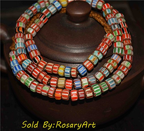 Tibetan Buddhism Old Venetian Trade Glass Chevron Chain Strand of Bead African Africa Liuli Beads Antique Necklace Pendant Bracelet Genuine Amulet Talisman Authentic Ancient Tibet Nepal Real Buddhist Prayer Beads Rosary Worry Misbaha Tasbih Komboloi Islamic Yellow Red Blue Flower Floral Mala Noble Collection ()