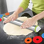 "Large Heavy Duty Rolling Pin Made by Stainless Steel Metal, 15 inch, with Adjustable Discs,Kitchen Tools for Women, Men, Kids, Girls, Adults, Teens, Toddlers - French Style 14 【Fixed thickness & Measurement size】This Rolling Pin with thickness rings is adjustable and required thickness of 2mm 3mm 6mm 10mm ,same as 1/16"", 1/8"", 1/4"", and 3/8"" inch ,off the work surface.And You can mark the size you need based on the measurement markings above.You can make the exact size baking.The Rolling Pins has stainless steel body.The weight of the pin is 16 ounces,that will give you enough heft to roll the dough. 【Health & Safety】Cylindrical Rolling pin Cover had excellent water absorption and scalability can be made to effectively prevent dust.When you use it again, do not worry about dust,That keep the health.A wooden rolling pin will have an wood odor on it but a stainless steel rolling pin will not,you can eat more healthy food.With the disc, you can better control the hand when you are rolling , even when your childcan use it easily, that will not pressure hand.More safer. 【Simple to Use】This Rolling Pin with Adjustable Rings A novice in baking also can make Perfect size.The removable rings make it simple to roll to a desired thickness.both new and veteran will like it and need it."