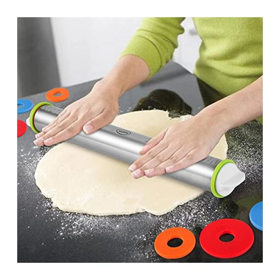 "Large Heavy Duty Rolling Pin Made by Stainless Steel Metal, 15 inch, with Adjustable Discs,Kitchen Tools for Women, Men, Kids, Girls, Adults, Teens, Toddlers - French Style 7 【Fixed thickness & Measurement size】This Rolling Pin with thickness rings is adjustable and required thickness of 2mm 3mm 6mm 10mm ,same as 1/16"", 1/8"", 1/4"", and 3/8"" inch ,off the work surface.And You can mark the size you need based on the measurement markings above.You can make the exact size baking.The Rolling Pins has stainless steel body.The weight of the pin is 16 ounces,that will give you enough heft to roll the dough. 【Health & Safety】Cylindrical Rolling pin Cover had excellent water absorption and scalability can be made to effectively prevent dust.When you use it again, do not worry about dust,That keep the health.A wooden rolling pin will have an wood odor on it but a stainless steel rolling pin will not,you can eat more healthy food.With the disc, you can better control the hand when you are rolling , even when your childcan use it easily, that will not pressure hand.More safer. 【Simple to Use】This Rolling Pin with Adjustable Rings A novice in baking also can make Perfect size.The removable rings make it simple to roll to a desired thickness.both new and veteran will like it and need it."
