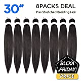 Pre Stretched Braiding Hair Long 30' 8 Packs Itch Free Hot Water Setting Synthetic Fiber Crochet Braiding Hair Extension(30', 2#)