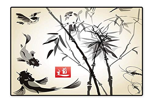 Indoor/Outdoor Floor Mat Bird and Fish Traditional Japanese Painting Bamboo Oriental Art Landscape Hand Drawn Ink Easy Clean 5'8