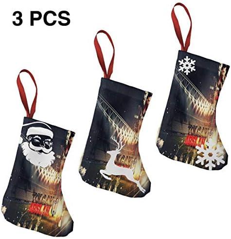クリスマスの日の靴下 (ソックス3個)クリスマスデコレーションソックス ベシクタスサッカー クリスマス、ハロウィン 家庭用、ショッピングモール用、お祝いの雰囲気を加える 人気を高める、販売、プロモーション、年次式