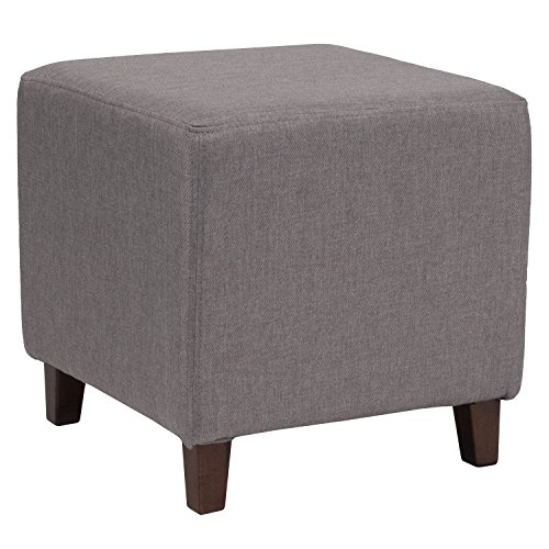 Flash Furniture Ascalon Upholstered Ottoman Pouf in Light Gray (Chair Ottoman Upholstered Stool)