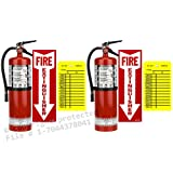 (Lot of 2) 10 Lb. Strike First Type ABC Dry Chemical Fire Extinguishers with Wall Hooks, Signs and Inspection Tags