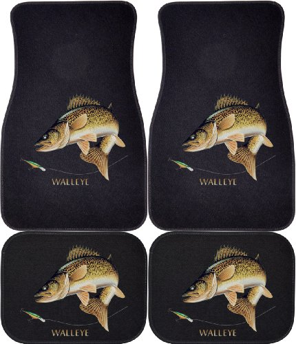 Walleye Combination (Black, Rears) Car and Truck Front and Rear Mats - Set of -