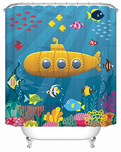 Maxwelly Undersea World Shower Curtain Submarine Bathroom Shower Curtain Fishes Corals Bath Curtain Sets with Hooks, 72 x 72 Inch, Colorful