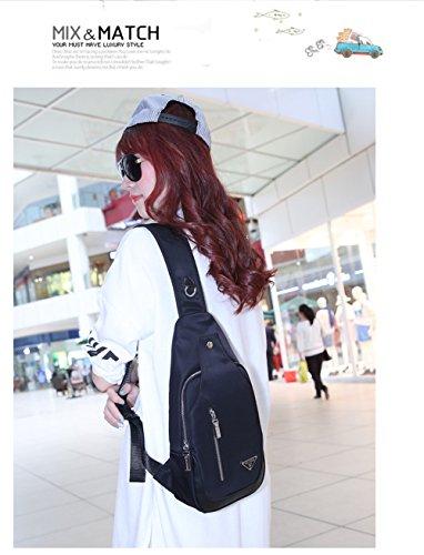 Wewod Bolsa del Pecho Ocio Mensajero de Bandolera de Cuero Para Viajes Deportes Bolso Casual Chest Bag Outdoor 18.5 x 35 x 7 cm (L*H*W) Negro