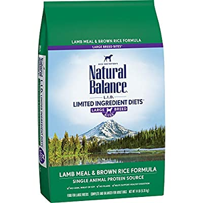 Natural Balance L.I.D. Limited Ingredient Diets Large Breed Bites Dry Dog Food, Lamb Meal & Brown Rice
