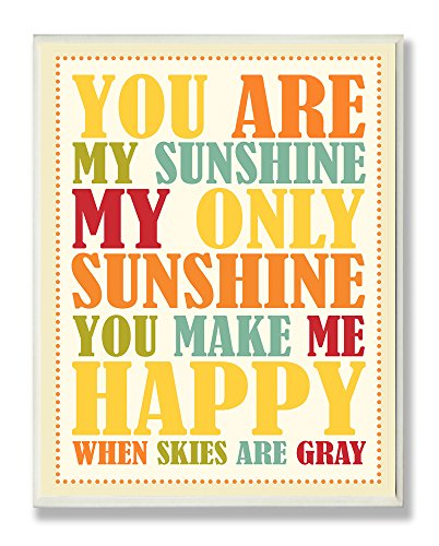 (The Kids Room by Stupell You Re My Sunshine Rainbow Colors Typography Rectangle Wall Plaque, 11 x 0.5 x 15, Proudly Made in USA)