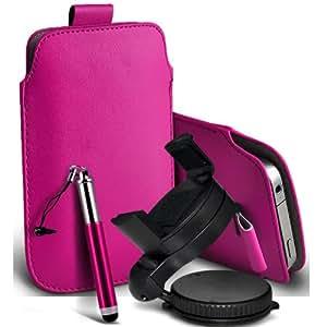 Nokia Lumia 820 premium protección PU ficha de extracción Slip In Pouch Pocket Cordón piel con la aguja retractable de la pluma y de 360 ??Sostenedor giratorio del parabrisas del coche cuna rosa fuerte por Spyrox
