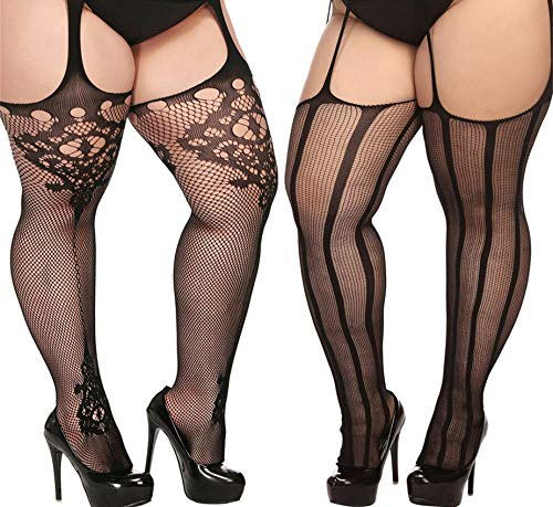 TGD Plus Size Stockings for Women Suspender Pantyhose Fishnet Tights Black 2 Pairs Thigh High Stocking (Fit US 8-16)(Black 07)