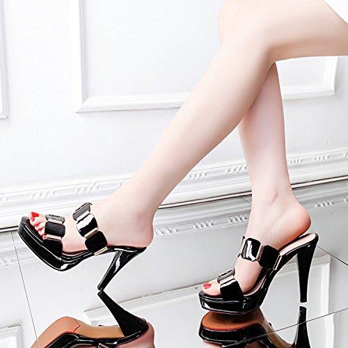 Zapatos de la mujer pescado 10cm agua Negro 37 de Sandalias zapatillas alto expuestos tacones el de Transpirable elegante mesa AJUNR de Moda 34 FvPqWYXIIf