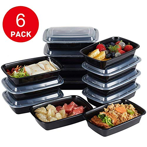 Hecentur Disposable Food Containers Meal Prep Bowls - Plastic Containers with lids Rectangular Meal Prep Containers for Home, Work, and Travel Use, BPA Free, Freezer and Microwave Safe, 750ML, 6PCS