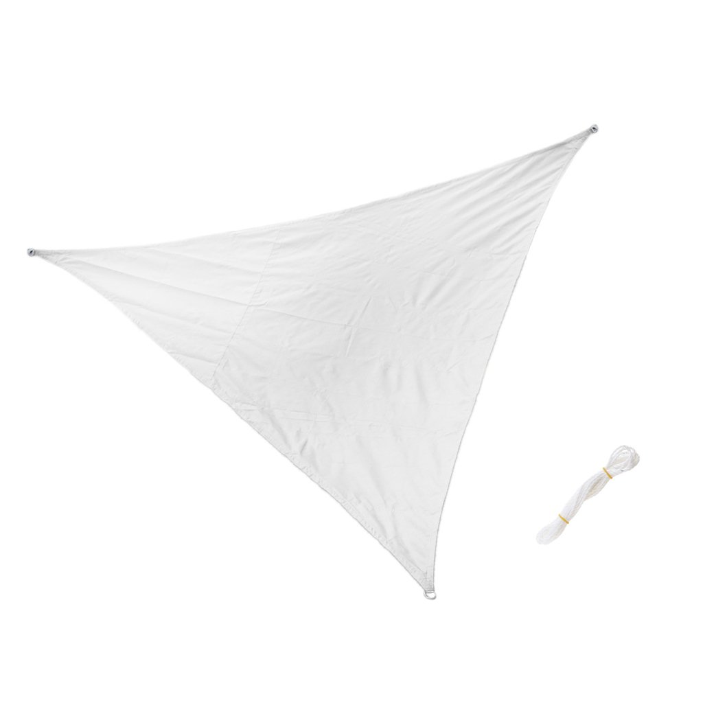 Dovewill Triangle Sun Shade Sail UV Cover Canopy Patio Triangle w/ Strings 10ft/12ft/16ft - White, 3.6m