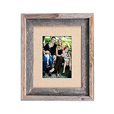 BarnwoodUSA 8 by 10 Inch Signature Picture Frame Matted for 5 by 7 Inch Photos - 100% Reclaimed Wood, Burlap Mat