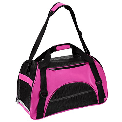 Portable Pet Dog Carrier Cat Puppy Soft-sided Pet Carrier Cats Dogs Travel Crate Tote Portable Outdoor Pet Handbag (Large, Rose Red)