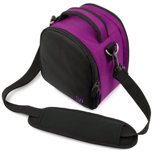 Price comparison product image VanGoddy Laurel Carrying Bag for Sony Cyber-shot DSC-RX100 II / DSC-RX1R / DSC-RX1 Digital Cameras (Purple)