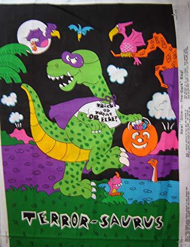 Trick or Treat Halloween Fabric Bag Panel Glow-in-The-Dark 'Terror-Saurus' -