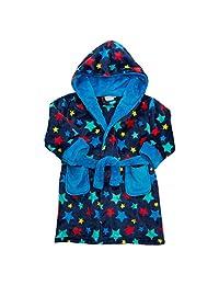 Minikidz Boys Plush Star Hooded Dressing Robe with Pockets