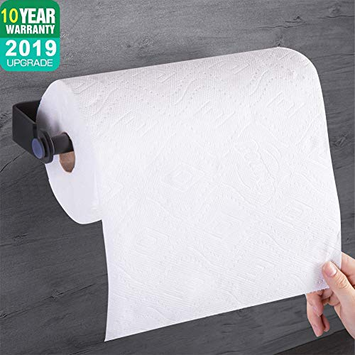 (Wonck Self Adhesive & Wall Mount Paper Towel Holder, Kitchen Tissue Towel Dispenser Stick Under Cabinet-Black)