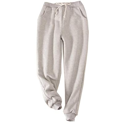 Dainzuy Women's Winter Fleece Pants Sherpa Lined Warm Sweatpants Thickening Active Running Jogger Trousers: Clothing