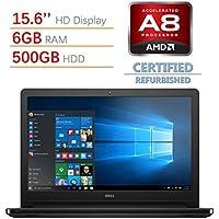 Dell Inspiron 15.6-inch HD Display Laptop PC, AMD Quad-Core A8-7410 Processor, 6GB RAM, 500GB HDD, DVD +/- RW, Radeon R5 Graphics, HDMI, Bluetooth, Windows 10(Certified Refurbished)