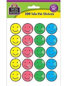 Teacher Created Resources Happy Face Sparkle Stickers Valu-Pak, Multi Color (6630)
