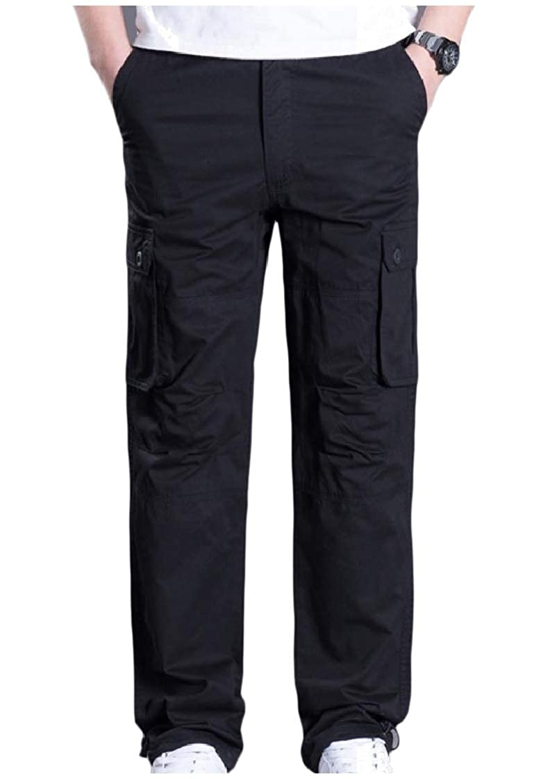 YUNY Mens Straight Fine Cotton Multi Pockets Casual Cargo Work Pants Black XS