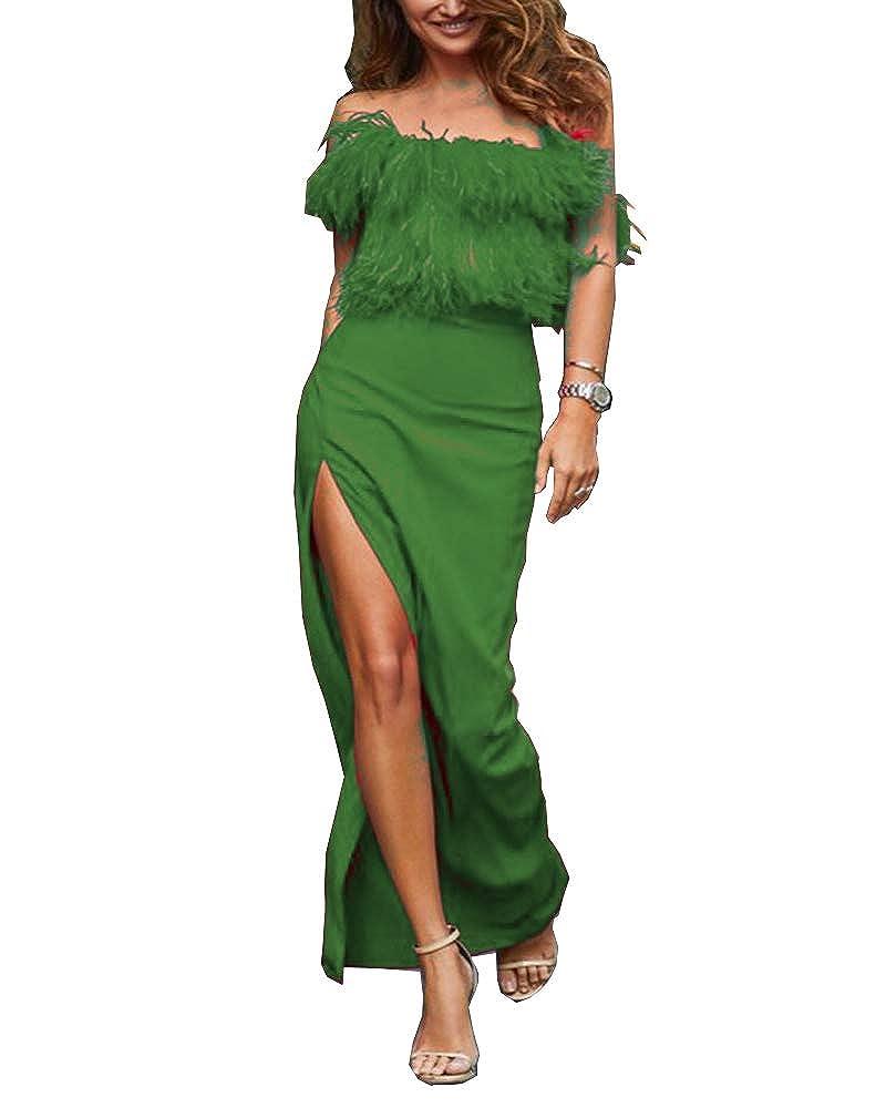 Emerald MariRobe Women's High Split Evening Dresses Sleeveless Feather Formal Party Dress Prom Dress Cocktail Gown