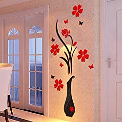 Leegor DIY Vase Flower Tree Crystal Arcylic 3D Wall Stickers Decal Home Decor Wallpaper Living Room Art Mural