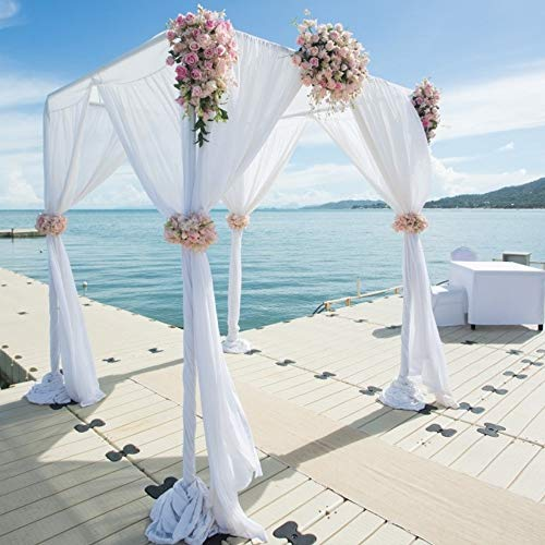 BIT.FLY Sheer Scarf Organza Table Swags Wedding Decor for Birthday Party & Home Table Runner 394 x 53 Inch, Table Skirt, Stair Bow, Valance, Backdrop Curtain Decoration (White, 1 Pack) (White Arch Garden Metal)