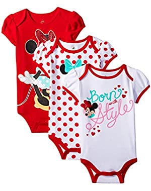 Baby Girls' Minnie Mouse Bodysuit (Pack of 3)
