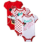 Disney Baby-Girls Minnie Mouse Bodysuit, White, 3-6 Months (Pack of 3)