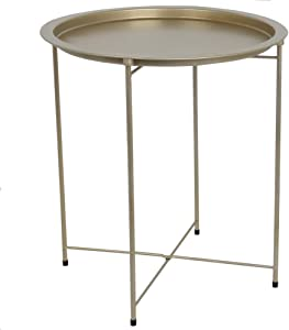 Home Basics , Brushed Gold Foldable Round Multi-Purpose Metal Side Accent, Coffee, End Table for Bedroom, Living Room