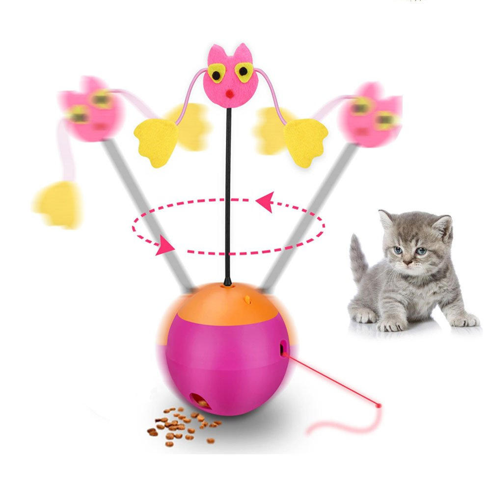 Interactive Cat Toys Happypapa 360° Multifunction Teaser Cat Toy Ball Shaped Tumbler with Chaser Light and Food Dispenser Good for Cats Exercise